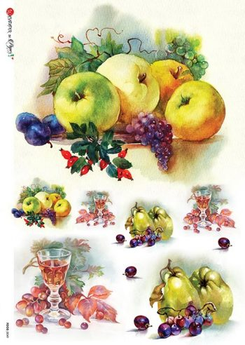 Decoupage Rice Paper Apples Grapes Pears Fruit