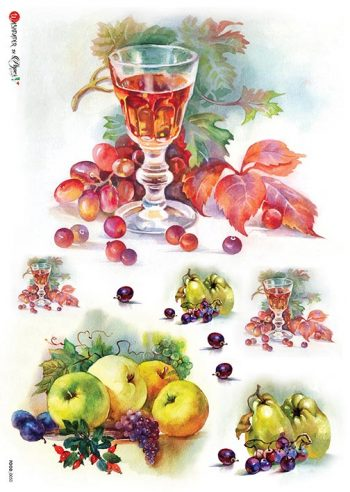 Decorative Italian Rice Paper Wine Grapes Apples