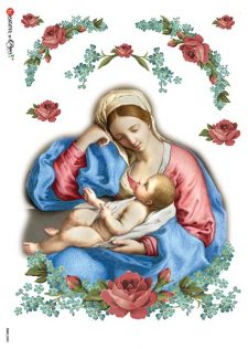 Italian Rice Paper | Baby Jesus & Mary in Rose Frame
