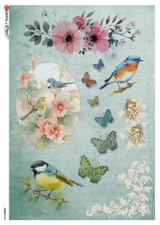 Italian Rice Paper | Bird Butterflies & Flowers