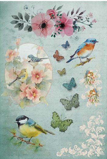 Italian Rice Paper   Bird Butterflies & Flowers