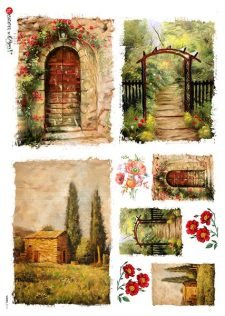 Italian Rice Paper Sheet for Decoupage Garden Scenes