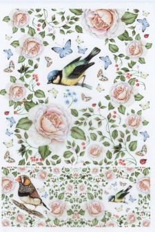 Summer Birds Roses & Butterflies Italian Rice Paper