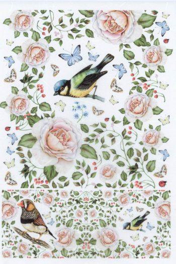 Summer Birds Roses & Butterflies Italian Rice Paper