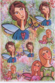 Italian Rice Paper for Decoupage Lovely Fairy Girls Spring Garden Mulberry Paper