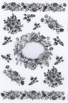 Decoupage Rice Paper Flower Frame in Black Line