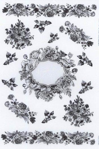 Decoupage Rice Paper Flower Frame in Black Line