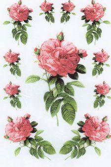 Decoupage Rice Paper Sheet l Exuberant Pink Roses
