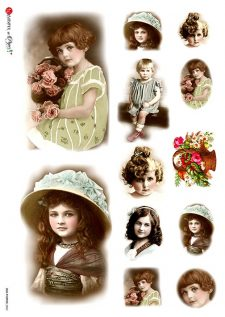 Decoupage Rice Paper Vintage Portraits of Girls