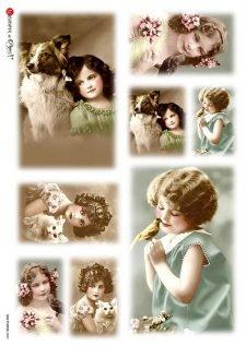Italian Decoupage Rice Paper Vintage Girls Pets