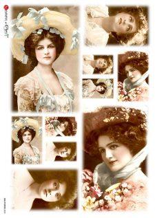Decorative Rice Paper Vintage Photos Victorian Lady