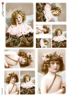 Decoupage Rice Paper Vintage Photos Little Angels
