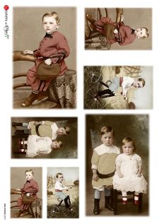 Italian Rice Paper Vintage Photos of Boy & Girl