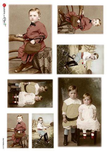 Italian Rice Paper Vintage Photos of Boy & Girl