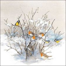 Paper Napkin Birds Winter Snow