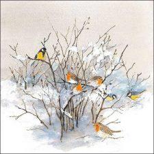 Paper Napkin Birds Winter Snow