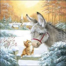 Paper Napkin Donkey and Kitten in Snow