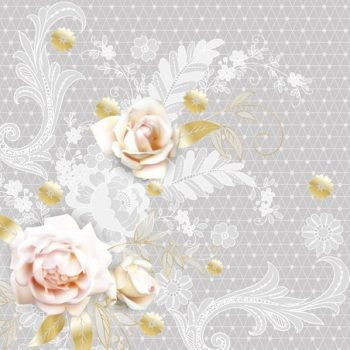 Paper Napkin White Roses on Lace