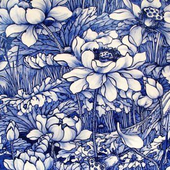 Paper Napkins | Blue Porcelain China Flowers