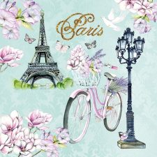 Paris Napkins | Eiffel Tower Flowers Bicycle