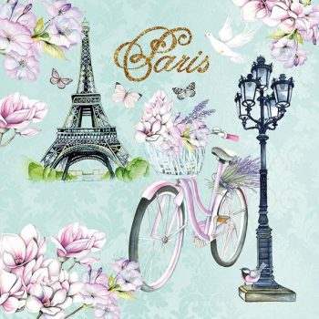Paris Napkins | Eiffel Tower Flowers Bicycle