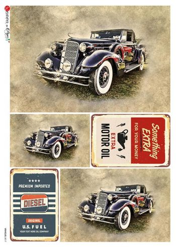 Decoupage Rice Paper Classic Car Mulberry Paper