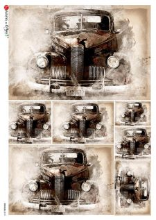 Decoupage Rice Paper | Vintage Car | Mulberry Paper