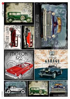 Decoupage Rice Paper Collection of Vintage Cars