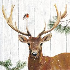 Winter Paper Napkin Deer & Robin in Snow