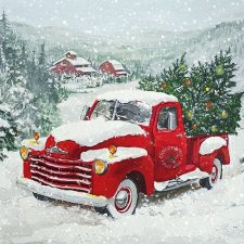 Xmas Paper Napkins Vintage Chevy Truck with Christmas Trees