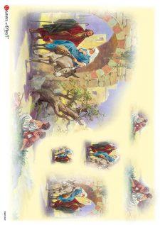 Decoupage Rice Paper Joseph & Mary Escape to Egypt