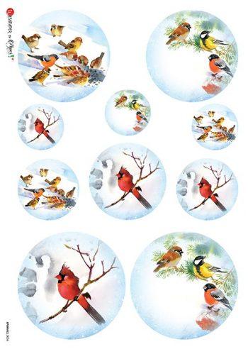 Italian Decoupage Rice Paper Winter Snow Birds