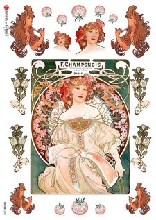 Decoupage Rice Paper Champenois Mucha Poster