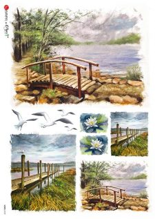 Italian Rice Paper for Decoupage Summer at the Lake