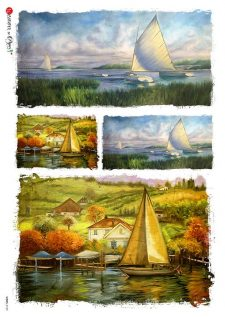 Italian Rice Paper for Decoupage Sailboats on the Lake