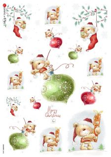 Rice Paper for Decoupage l Happy Christmas Teddy Bear