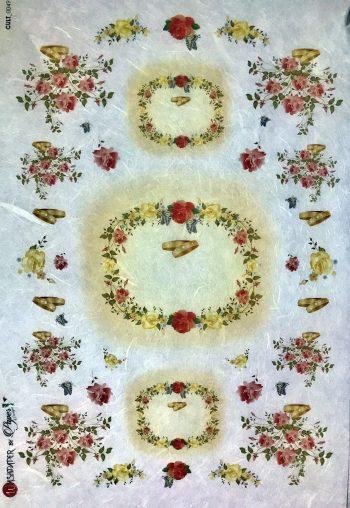 Decoupage Rice Paper Rose Garlands Wedding Ring