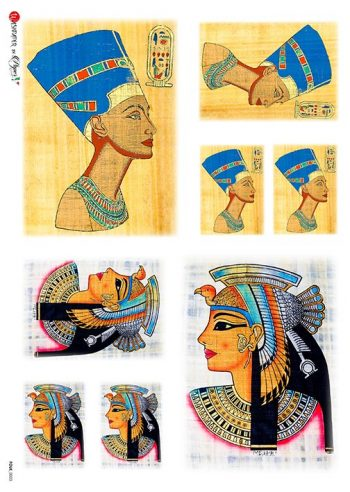 Decoupage Rice Paper Egyptian Queens Nefertiti & Cleopatra