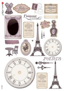 Decoupage Rice Paper Paris Eiffel Tower Clock