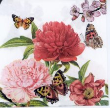 Decoupage Napkins of Peonies & Butterflies on White