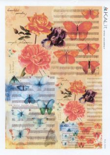 Decorative Rice Paper Roses Butterflies Music
