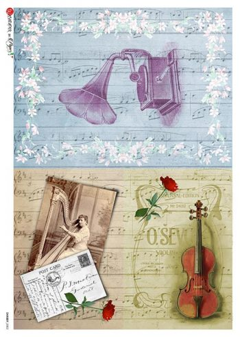 Decorative Rice Paper Sheet Violin Harp Phonograph
