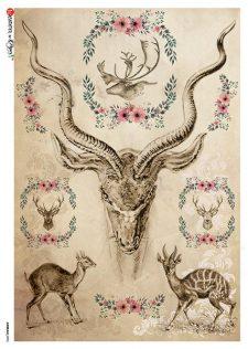 Italian-Rice-Paper-Sheet-Deer-Elk-Antlers
