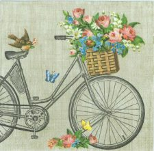 Decoupage Paper Napkins of Bicycle Robin Butterflies and Flowers