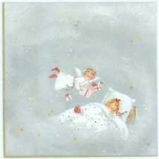 Decoupage Napkins of Christmas Angel and Sleeping Girl