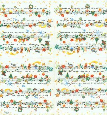 Decoupage Paper Napkins of O Come Little Children Sheet Music