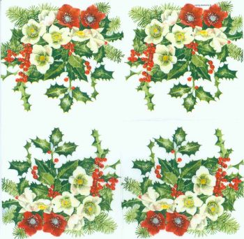 Decoupage Paper of  Christmas Roses and Holly Napkins