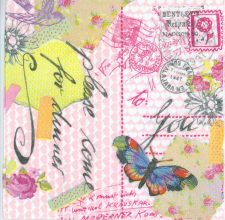Decoupage Paper Napkins of Love Letter and Butterfly and Bird