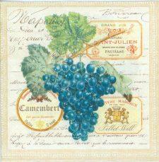 Decoupage Paper of  Merlot Wine Grapes Napkins