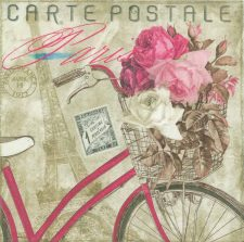 Decoupage Paper of  Paris Bicycle with Flowers Napkins